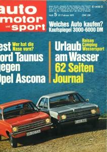 AMS Februar 1971 Ford Taunus vs. Opel Ascona