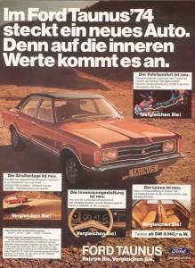 Werbung Ford Taunus Knudsen 1974